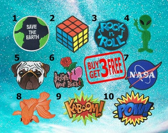 Buy 3 Get 3 Free Save The Earth Rubik Rock n Roll Applique IRON ON PATCHES funny patch Embroidered