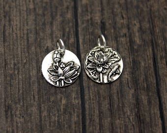 Sterling silver lotus charm pendant,Sterling Silver lotus flower charm pendant, Yoga Charm, yoga jewelry