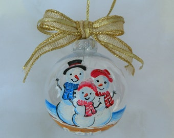 Beach Snowmen Ornament Handpainted, Personalized Snowmen Ornament, Beach Ornament, Personalized family Ornament Gift, gift for family