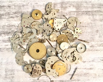 Vintage Watch Parts 15g Mixed Lot of Steampunk Supplies, Barrels, Gears, Cogs, Bits, Watch Parts Watch Repair, Altered Art, Found Objects