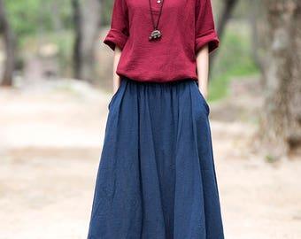 Women cotton and linen skirts – Simple retro long skirt