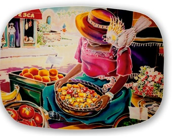 ThermoSaf Mexican market Lady Cockatoo Serving Platter Tray Old Mexico Mercado Painting Original 100% Made in America