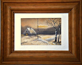 "Original Oil Painting for Sale: ""Deep in Winter Countryside"", winter landscape"