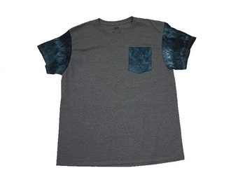 Tie Dye Pocket Tee (Adult M)- Upcycled by Rethreaded