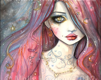 Worry - Gothic Girl Archival Giclee Print Fantasy Art  8 x 10