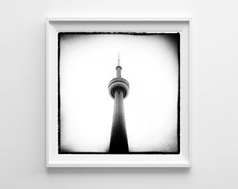 Toronto CN Tower - Canadian Black and White Square Wall Art - Toronto Photography - Multiple Sizes Available, Fits IKEA Ribba Frames