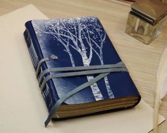 blue leather journal - diary with vintage style pages - romantic notebook - blue winter