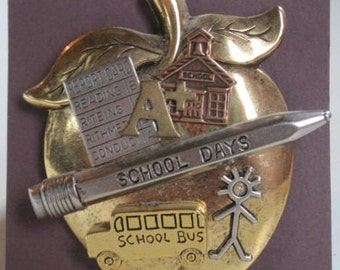 Apple School Pin - Apple, School, Report Card, Bus, Student, Pencil- Great gift for Teacher, Bus Driver, Student or Education worker