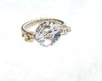 Swarovski Crystal Ring, Silver Finish Ring, Non Tarnish Silver Ring, Non Tarnish Ring, Wire-Wrapped Silver Ring, Wire-Wrapped Ring