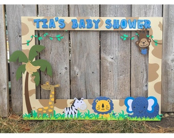 Giant photo booth frame safari themed baby shower, customized with message, includes jungle animals, lion, elephant, giraffe, zebra, monkey