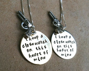Johnny Cash Necklace, Johnny Cash, I Keep A Close Watch on this heart of mine, Johnny Cash gold or silver, Personalized