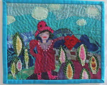 """In The Garden  8""""x10""""  fabric collage"""
