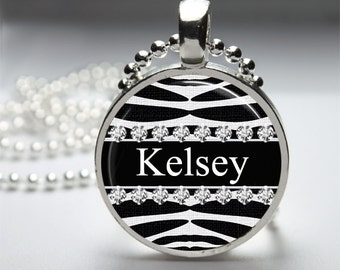 Zebra Print Custom Name Glass Dome Necklace