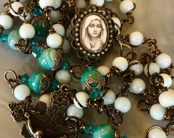 Beautiful Vintaj Brass Wire Wrapped Our Lady Rosary! Lovely, Durable...