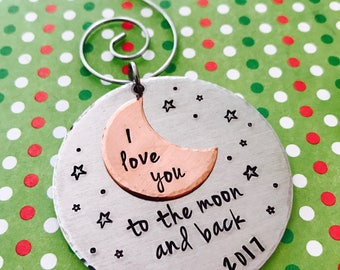 I love you to the moon and back Christmas Ornament Personalized - Tree - Gift for Mom - Gift for Grandma - Personalized - Moon and Stars