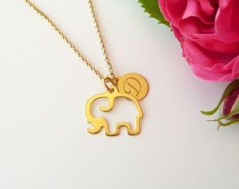 Personalized Elephant Necklace, Gold Elephant Necklace, Elephant Charm Necklace, Lucky Charm Necklace, 925 Silver Jewelry