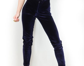 Danna Blackberry Stretch Velvet High-Waisted Skinny Leg Pants