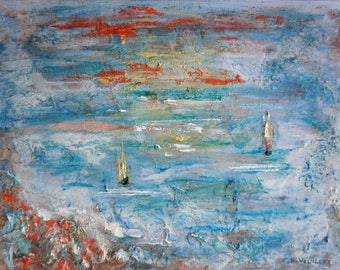 painting abstract seascape 2 listed artist Drouot navy oil painting seascape abstract painting on canvas