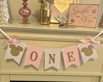 Pink Minnie Mouse First Birthday Girl , Minnie Decorations, Minnie Mouse, Banner, Birthday,Pink and Gold  first birthday