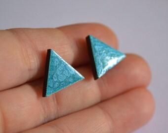 sky blue earrings gift for wife gift for her girlfriend gift hand made earrings tiny stud geometric jewelry minimalist earrings blue jewelry