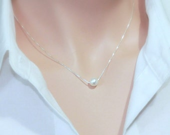 Floating Pearl Necklace, Single Pearl Necklace, Simple Pearl Necklace, Pearl Necklace, Bridesmaid Necklace, Wedding Necklace, White Pearl