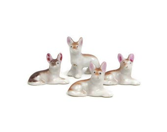 Vintage German Shepherd Figurines Miniature Dog Porcelain Puppy Statues Hand Painted Made in Japan Set of 4