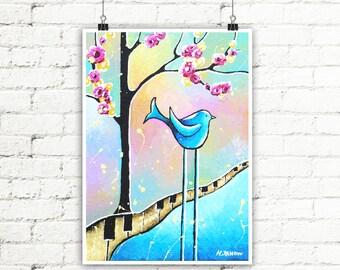 Whimsical Bird & Tree Print Kids Room Art, Pastel Blue and Pink Nursery Wall Art Birthday Gift