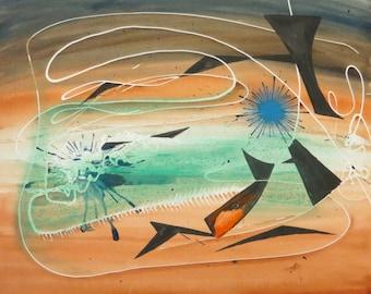 Original 1940's Stanley Kazdailis Abstract Modernist Painting Chicago School of Design