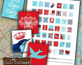 Aqua and Red Scrabble Collage Sheet Digital Collage Sheet .75x.83 inch Size Images for Glass Resin Pendants Game Tiles Calico Collage Art