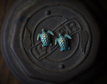 Green and Gold Sea Turtle Stud Earrings!