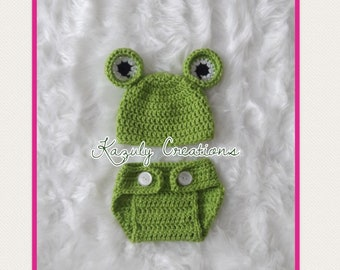 Frog photo prop , newborn frog crochet outfit , froggy crochet photo prop , baby boy frog crochet outfit