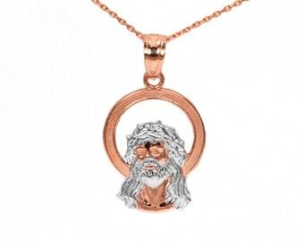 14k Rose Gold Jesus Necklace