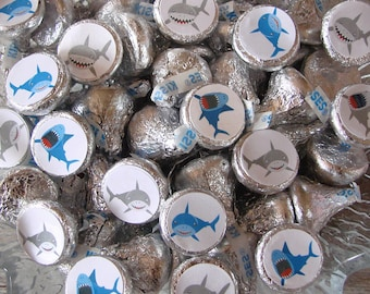 Shark Party, Candy Stickers - Kiss, Candy Labels - Shark Birthday Party, Party Favors, Printed
