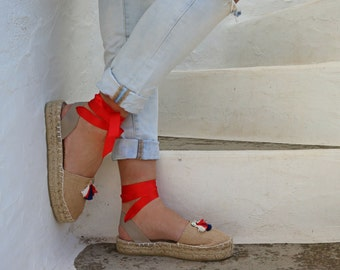 Espadrille Sandals. Jute Espadrilles with Tassels. Summer Leather and Fabric Shoes. Women's Sandals. Greek Sandals. Gift for Women