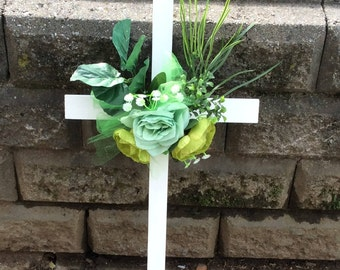 Cemetery Cross, Cemetery Flowers, Memorial Cross, Grave Decoration, Roadside Memorial