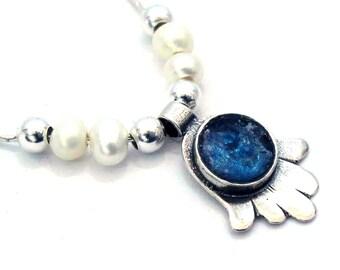 Roman Glass Hamsa Pendant, 925 Silver Pendant, Judaica Jewelry, Roman Glass Jewelry, Blue, Freshwater Pearls, Hand of Luck, Artisan, Round