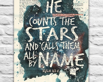 Vintage Bible page verse -He Counts the Stars- Psalm 147:4 Instant DIGITAL DOWNLOAD, 8x10 11x14, Universe dictionary christian gift