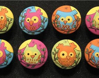 BRIGHT OWLS - Set of 8 - Hand Painted Wooden Drawer Knobs/Pulls - Great for Kid's Room, Nursery or Office