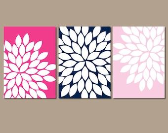 Flower Wall Art, Navy Pink Wall Art, Girl Bedroom Wall Decor, Flower CANVAS or Prints, Bathroom Decor, Navy Pink Nursery Decor, Set of 3