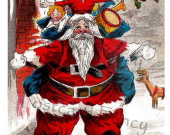 SANTA CLAUS Is Coming To Town, Rare Vintage Postcard, Instant DIGITAL Download