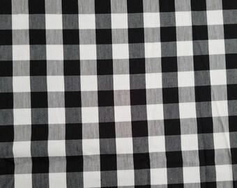 Black white checker fabric 100% cotton plaid