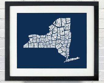 New York County Word Map - A typographic word map of the Counties of New York State