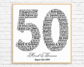 PERSONALIZED 50TH ANNIVERSARY Gift ~ Word Art ~ Printable Art ~ Unique Anniversary gift ~50 Year Gold Wedding Anniversary Gift ~ Unique Gift