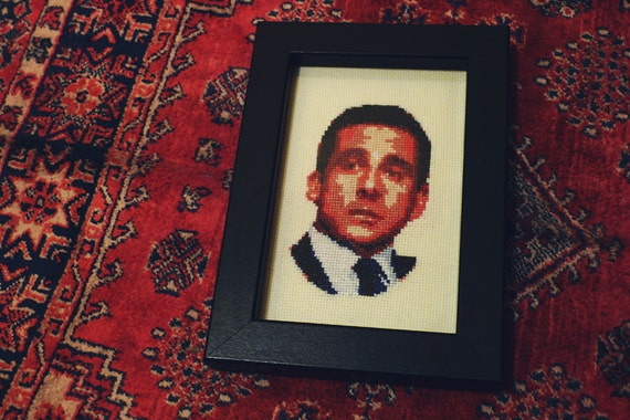 Micheal Scott cross stitch portrait from The Office