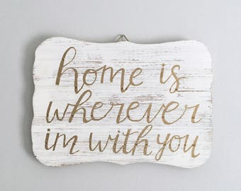 Rustic Wooden Sign with Home Quote