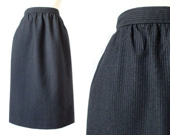 Vintage 80s High Waisted Gray Pinstripe Wool Skirt - Size 6 - Charcoal Grey Evan Picone Women's Knee Length Skirt