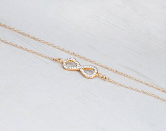 Gold Infinity Necklace, Zircon Necklace, Infinity Choker Necklace, Zircon Infinity Necklace, Side Infinity Necklace, Wedding Necklace CZ