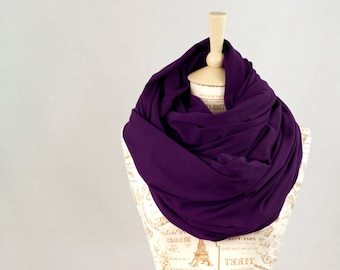 Large Infinity Scarf, Purple Scarf, Oversized Scarf, Big Scarf Chunky Scarf, Winter Scarf Mens Hooded Scarf Circle Scarf Travel Gift for Her