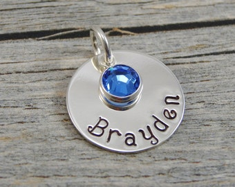 Hand Stamped Jewelry - Personalized Jewelry - Charm For Necklace - Sterling Silver Circle - Name & Birthstone
