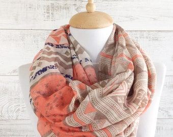 Spring scarf summer scarf orange scarf infinity scarf spring fashion accessories summer scarf